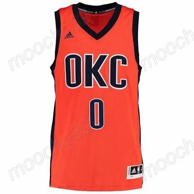 New orange Oklahoma City Thunder #0 Russell Westbrook Jersey Size:S-XXL