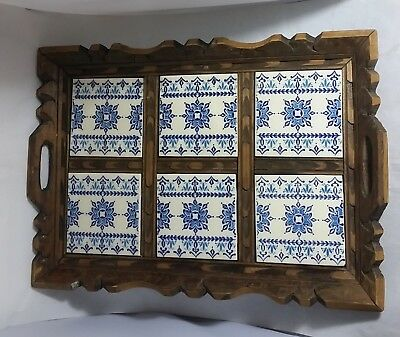 Beautiful Vintage  Large Wooden and Tile Tray