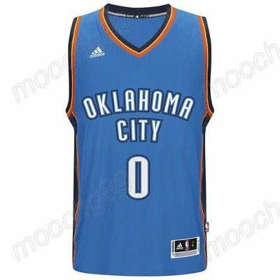 New blue Oklahoma City Thunder #0 Russell Westbrook Basketball Jersey Size:S-XXL