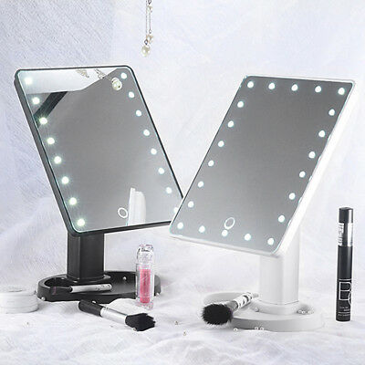 16/22 LED USB Lights Vanity Makeup Mirror Touch Screen Tabletop Beauty Mirror