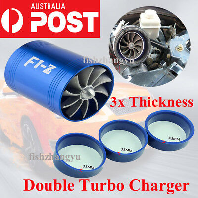 F1-Z Double Turbo Charger Air Intake Gas Fuel Saver Fan Car Superchar Turbine OZ