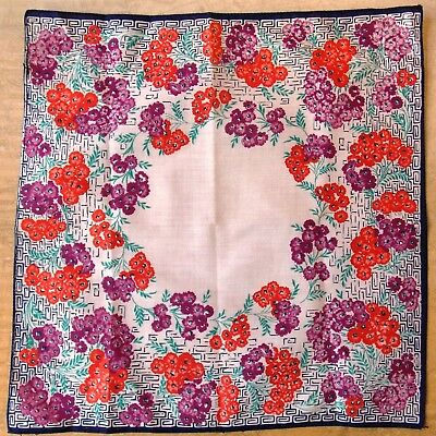Vintage 1940s Printed Red & Purple Floral Cotton Handkerchief- 28cm