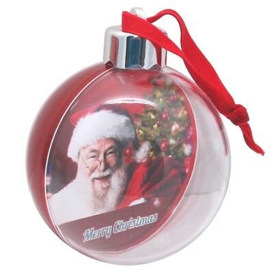 36 Christmas Blank Red Back Photo Baubles Gift, Xmas Tree Snow Globes