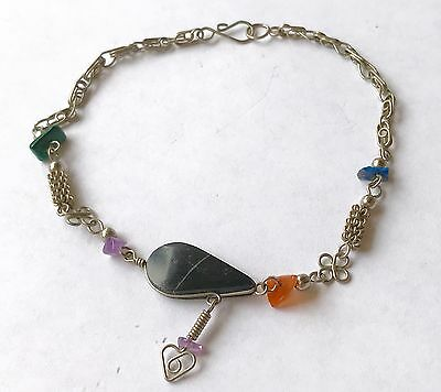 "Gemstone & Links Ankle Bracelet - Artisan, handmade - 10"" long"