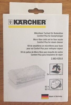 GENUINE KARCHER 2PK Microfibre Floor Cloths Pads To Fit SC4 & SC5 (2.863-020.0)