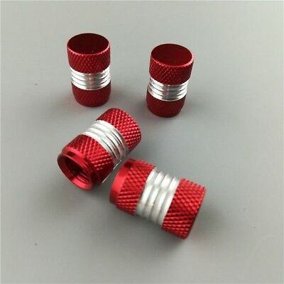 4PCS Red Anodized Aluminum Tire/Wheel Air Pressure Valve Stem Caps
