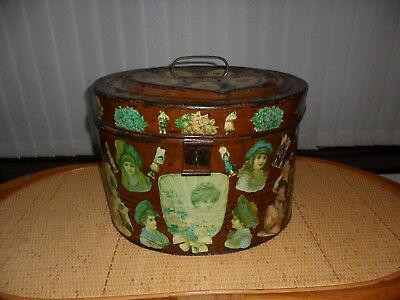 ANTIQUE c1880 VICTORIAN LADIES TRAVELLING OVAL METAL HAT BOX WITH DECOUPAGE ENAM