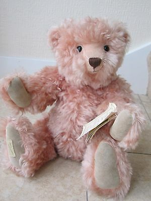 """16"""" Dean's Pink Mohair Bear 'clare' Year 1998 Ltd Ed  With Tags"""