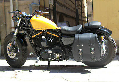 Borsa Bisaccia Singola Moto Universale Pelle Laterale Sportster Nightster Low