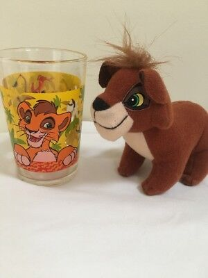 Rare Disney Lion King 2 Kovu Plush Toy & Glass Cup. Pumbaa Timon Simba