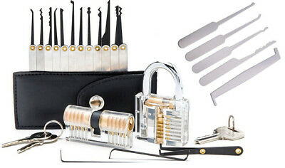 22 pcs Practice Lock Pick Tool Kit Padlock Locksmith Lockpick Unlocking Tool Set
