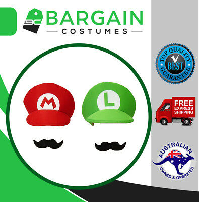 Super Mario Luigi Brothers Adult Mens Womens Kids Cap Costume Hat Moustache
