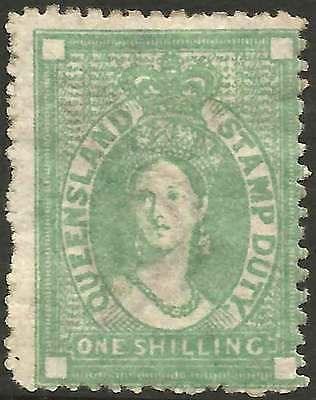 QUEENSLAND 1871-72 POSTAL FISCAL Crown/Q 1/- DullGreen ACSC F11 cv$150 fine mint