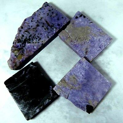 550.85Cts 100% NATURAL CHAROITE ROCK ROUGH RUSSIAN 7 PCE LOT CABOCHON GEMSTONE
