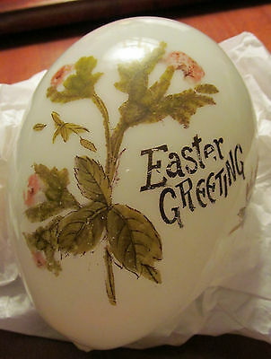 Two Antique Easter Eggs - Handblown Glass + Hand Painted
