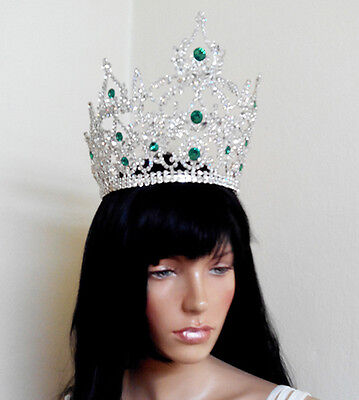 Miss Pageant Large Tiara Crown Crystal white and green Bridal New