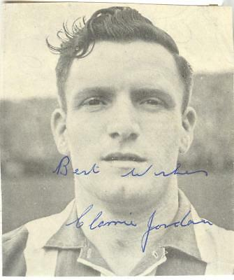 CLARRIE JORDAN 1940's> SHEFFIELD WED, DONCASTER etc HAND-SIGNED MAGAZINE PHOTO