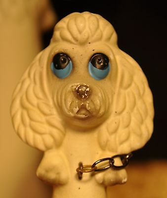 1950's Vintage Brinns Comical Poodle with Two Pups on Chains Figurine