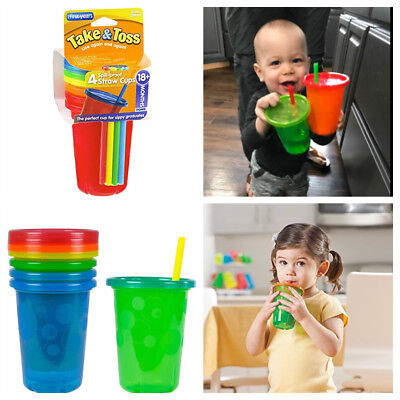 Spill Proof Child Toddler Straw Cup Take & Toss 4 New Pack Reusable Sippers Cups