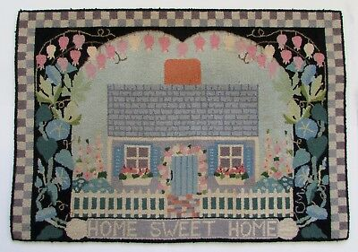 """VTG Claire Murray Hand Hooked Wool Rug Home Sweet Home 27.5"""" x 39"""" 1996"""