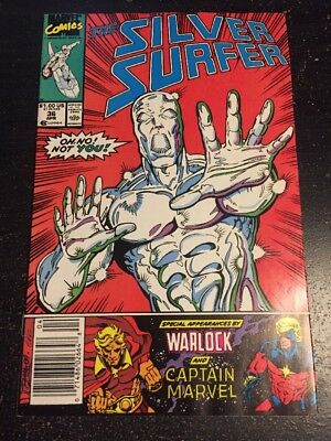 Silver Surfer#36 Incredible Condition 8.5(1990) Captain Marvel,Warlock, Lim Art!