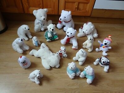 Bundle Of 18 Large & Small Plush Soft POLAR BEARS 11.5 inches High max.