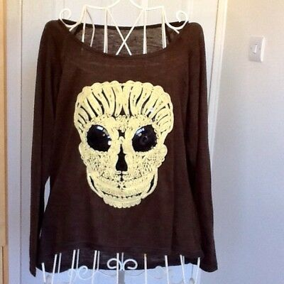Halloween Top with Skeleton Face size 10/12 New