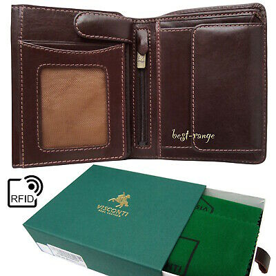 Mens Wallet Luxury Leather RFID Visconti Dark Brown New in Gift Box Tuscany 44