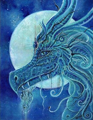 Dragon Blue beautiful fantasy art print by Renee L Lavoie made in the USA