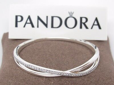 fb1b4e8d2 New Pandora Entwined Clear CZ Sterling Bangle #590533CZ Box Available Choose