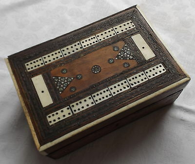 Wooden Card Box With Cribbage Board Top And Inlaid Decoration