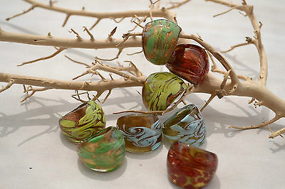 Glas Ring Gold &  farbige Muster Glasring Murano  Bandring MG 13