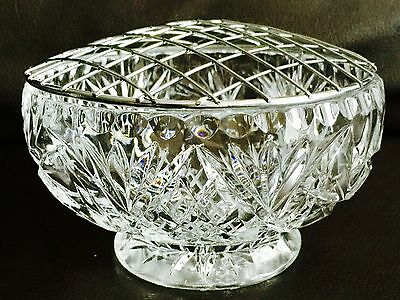 """Superb Vintage Large 6""""/16cm Heavy English Crystal Rose Bowl In Perfect Order"""