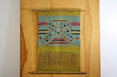 Vintage 1960's Handwoven Ethnic Original Artisan Wall Hanging Tapestry