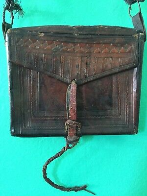 Moroccan antique small leather bag