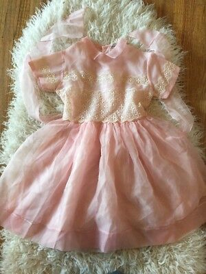 Vintage 50s Toddler Pink Sheer Cinderella Inspired By Shirley Temple Party Dress