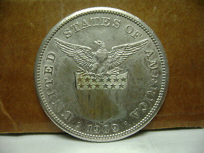 1909-S Peso U.S.-Philippines Silver Coin, Lustrous Nice! 09#1
