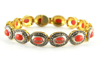 INSPIRED BY ANTIQUE ROSE CUT DIAMOND 4.64ct SILVER CORAL BRACELET FOR PARTY WEAR
