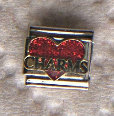 """love Charms On Red Heart"" 9Mm Italian Charm-Italian, Floating,hobby, Collection"