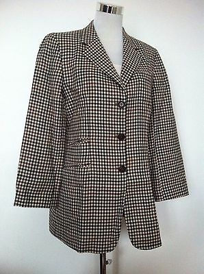Vintage Womens DKNY Classic Plaid Check Long Blazer Jacket / Size 10 (UK 12)