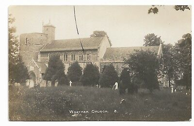 St Mary the Virgin Church WORTHAM Suffolk Vintage Real Photo Postcard 244B