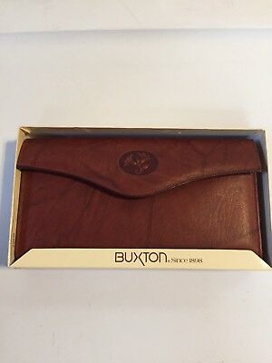New Buxton Genuine Brown Leather Checkbook Cover Wallet Organizer