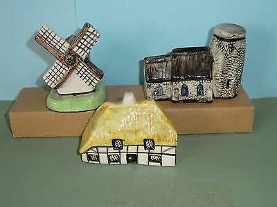 Britain In Miniature Tey Terra Crafts Pottery Norfolk Church Windmill & Cottage
