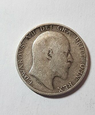 1906 British Silver One Shilling Coin - Edward VII.