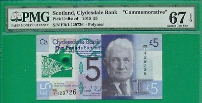 SCOTLAND Pick# 229Na CLYDESDALE BANK BANKNOTE   5 POUNDS 2015 UNC PMG 67 EPQ