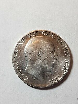 1910 British Silver One Shilling Coin - Edward VII.