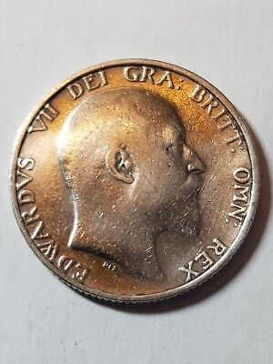 1907 British Silver One Shilling Coin - Edward VII.