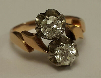 A Stunning Antique 1ct Rose Cut Double Diamond Lady's18kt Gold Ring