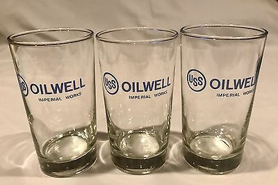 "(1) One USS OILWELL Imperial Works Oil City PA 8 oz Drinking Glass 5"" H MINT!"