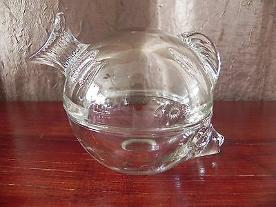 Clear Art Glass Anchor Hocking 2-Piece Fish Trinket Box Paperweight Candy Bowl